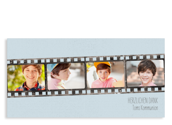 "Danksagung Kommunion ""Weg"" (Postkarte DL mit Fotos)"