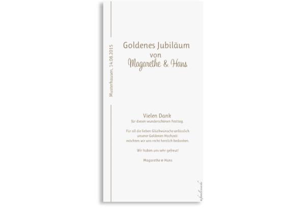 Danksagungskarten zur Goldenen Hochzeit Boston, Rückseite der Farbversion: beige