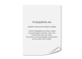 Transparente Einlegeblätter 108 x 143 mm (bedruckt)