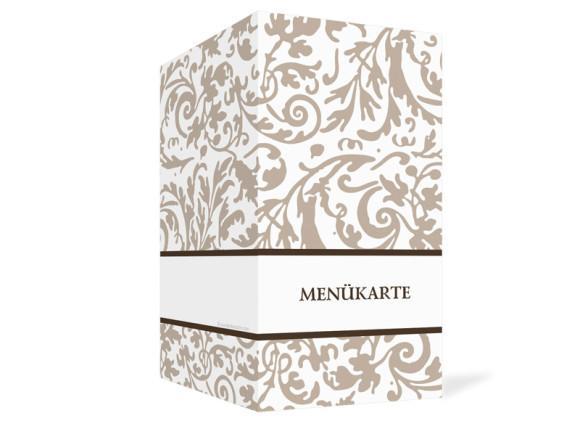 Außenansicht, Menükarte zur Hochzeit (Klappkarte), Motiv Rokko Weiß, Farbversion: beige
