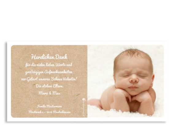 Geburtskarte, Motiv Valerie/Valentin, Rückseite, Farbversion: blau