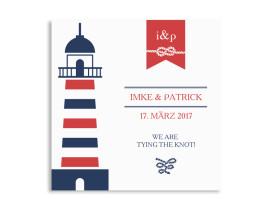 Save the Date Kiel (quad. Postkarte) Rot