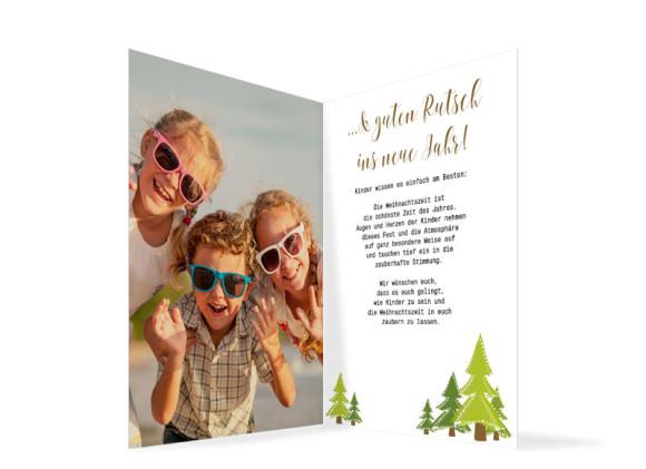 Weihnachtskarte Bäumchen, Innenansicht in der Farbversion braun