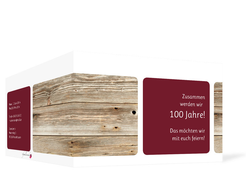... Einladungskarten Geburtstag Zürich, Außenansicht Der Farbversion:  Bordeaux