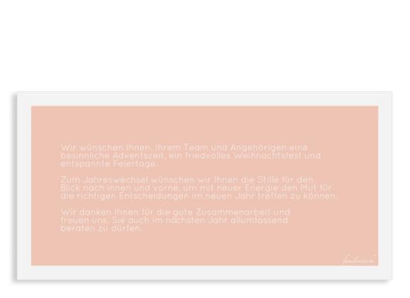 Weihnachtskarte Firmen Postkarte DL, Motiv: Festliche Post, Rückseite, Farbvariante: apricot
