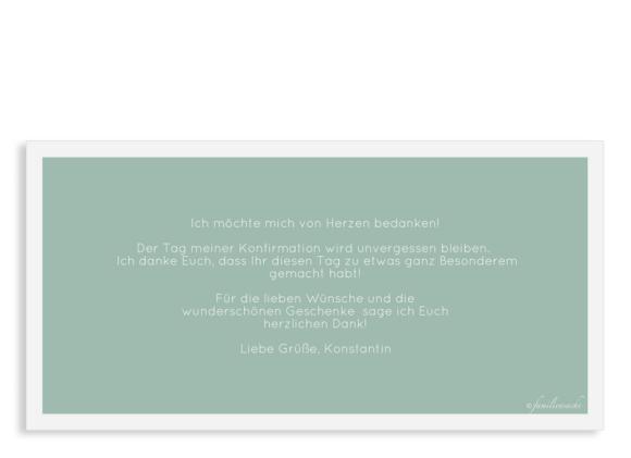 Einladungskarten zur Konfirmation (Postkarte DL quer mit nur Text), Motiv: Licht, Rückseite, Farbvariante: gruen
