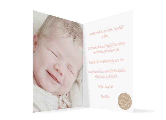 Einladungskarten zur Taufe, Motiv: Mare, Innenansicht, Farbvariante: apricot