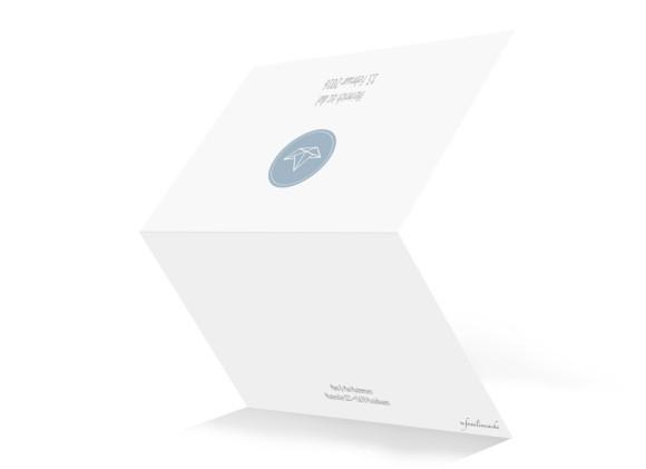 Geburtskarte, Motiv Hanni/Heinrich, Klappkarte A6,  Aussenansicht, Farbversion: petrol