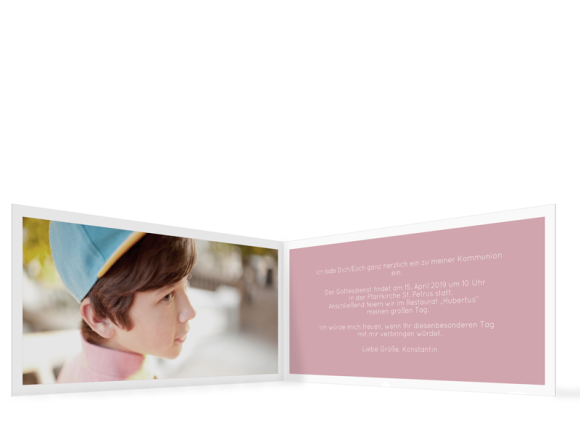 Kommunionseinladung (Klappkarte DL quer mit einem Foto), Motiv: Licht, Innenansicht, Farbvariante: altrosa