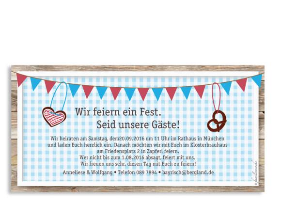 Hochzeitseinladungen München, Rückseite in azur/rot