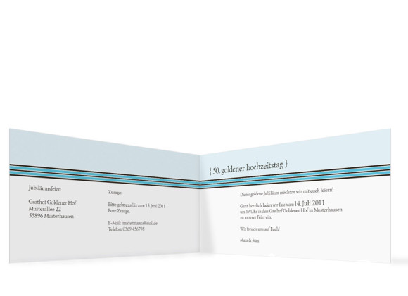 Innenansicht, Einladungs-Klappkarte zur Goldenen Hochzeit (Format DIN Lang), Motiv Cardiff, Farbversion: blau
