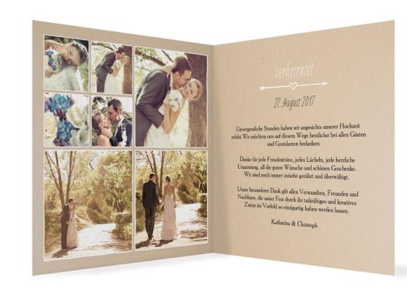 Danksagungskarte zur Hochzeit, Motiv: Fahrrad, Farbe: beige, Innenansicht