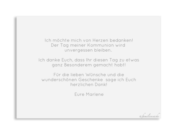 Kommunionsdanksagung (Schlichte Postkarte mit Foto), Motiv: Kraftvoll, Rückseite, Farbvariante: weiss