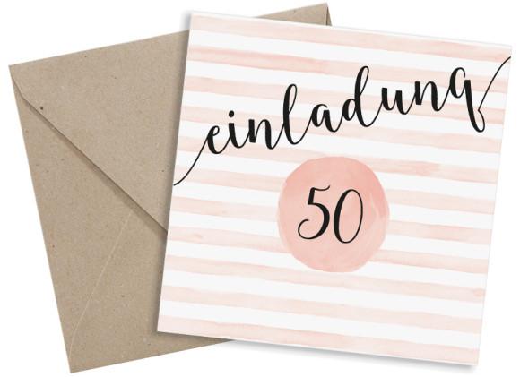 Einladungskarten 50. Geburtstag, Motiv: Dots 'n Stripes, (quadratische Postkarte), mit Briefhülle, Farbvariante: apricot