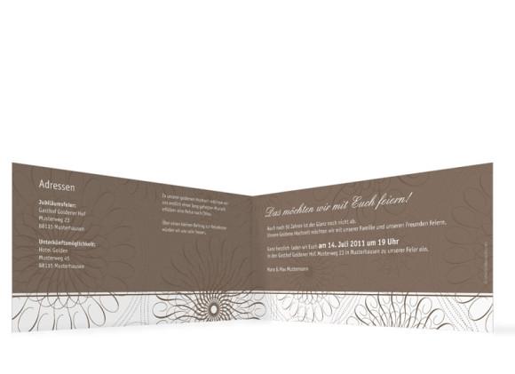 Innenansicht, Einladungs-Klappkarte zur Goldenen Hochzeit (Format DIN Lang), Motiv Mandala, Farbversion: beige