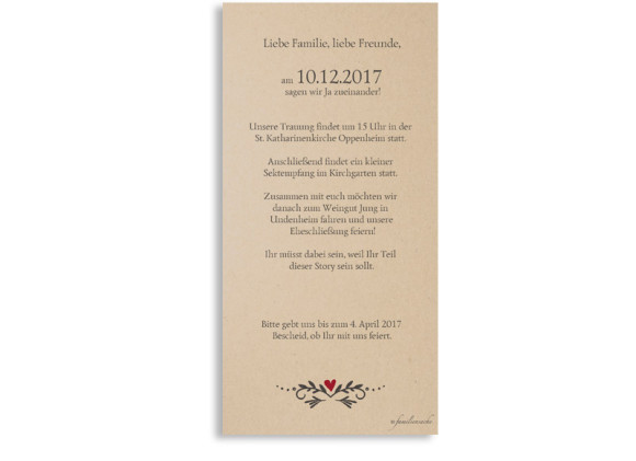 Einladungskarten zur Hochzeit Hirsch, Rückseite in beige