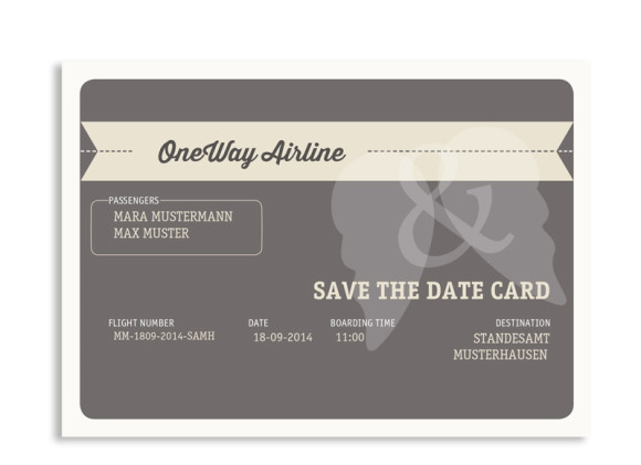 Save-The-Date Flugticket (Postkarte)