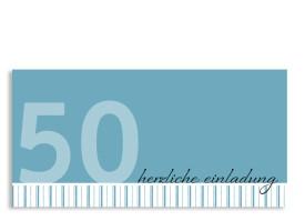 Einladung zum 50. Geburtstag Stripes 2 (Postkarte) Blau