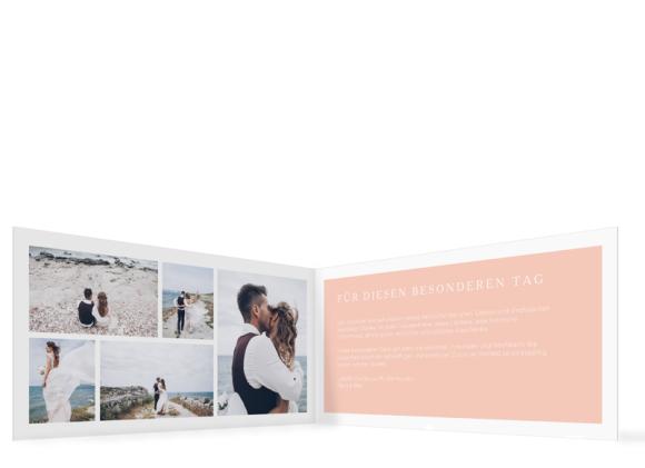 Hochzeit Danksagungskarten (Klappkarte DL mit vielen Fotos), Motiv: HD Brisbane, Innenansicht, Farbvariante: apricot