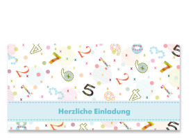 Einladungskarte Zahlen (Postkarte) Blau