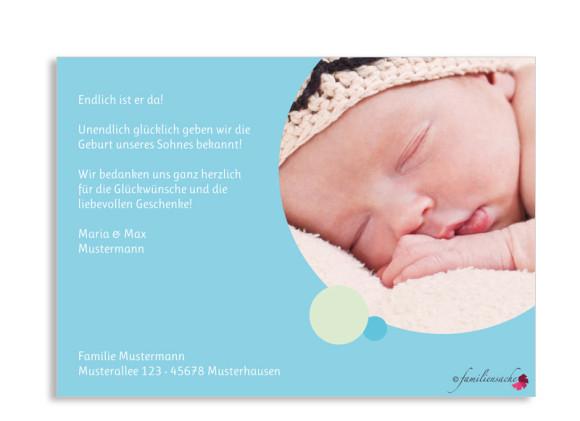 Rückseite, Postkarte zur Geburt, Motiv Ines/Irvan, Farbversion: blau/grün