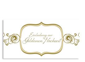 Einladung Goldhochzeit Goldene Zeiten (Postkarte) Beige