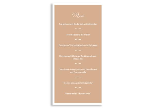 Rückseite, Menükarte zur Hochzeit (DIN Lang-Karte, zweiseitig), Motiv Verona, Farbversion: beige
