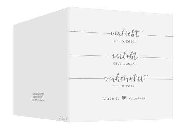 Einladungskarten Hochzeit (Klappkarte quadratisch mit Foto), Motiv: Gent Pure, Aussenansicht, Farbvariante: grau