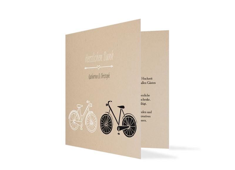 Hochzeitsdanksagung Fahrrad Familiensache