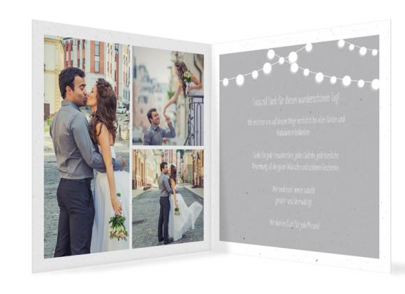 Hochzeitsdanksagung Lichterkette, quadr. Klappkarte mit Fotos, Innenansicht in grau