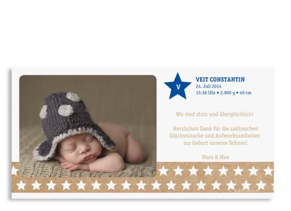 Karten zur Geburt Viola/Veit, Rückseite der Farbversion: blau