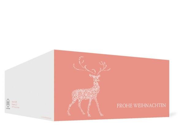 Außenseite, Firmen-Weihnachtskarte Holy Deer mit eigenem Logo, Farbversion: apricot