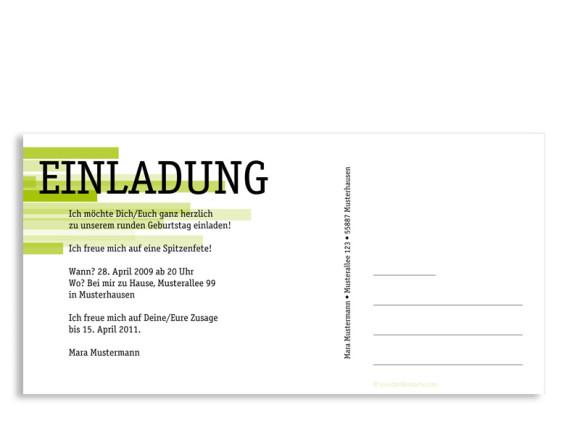 Rückseite, Einladungs-Postkarte zum Geburtstag, Motiv Technik, Farbversion: grün
