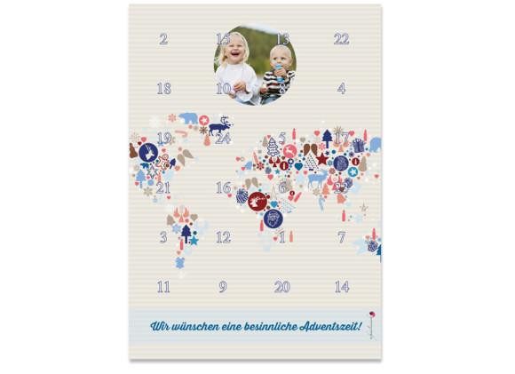 Adventskalender Weltkarte (DIN A4)