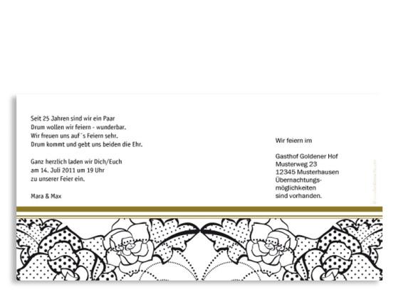 Rückseite, Einladungskarte zur Silberhochzeit, Motiv Spitze, Farbversion: beige