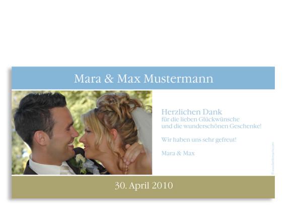Rückseite, Danksagungs-Postkarte zur Hochzeit, Motiv New York, Farbversion: blau-oliv