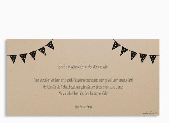Firmen-Weihnachtskarte Weihnachtsparty (Postkarte), Din Lang quer, Rückseite in Schwarz