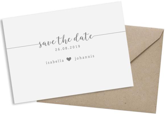 Save the date (Postkarte A6 quer), Motiv: Gent Pure, mit Briefhülle, Farbvariante: grau