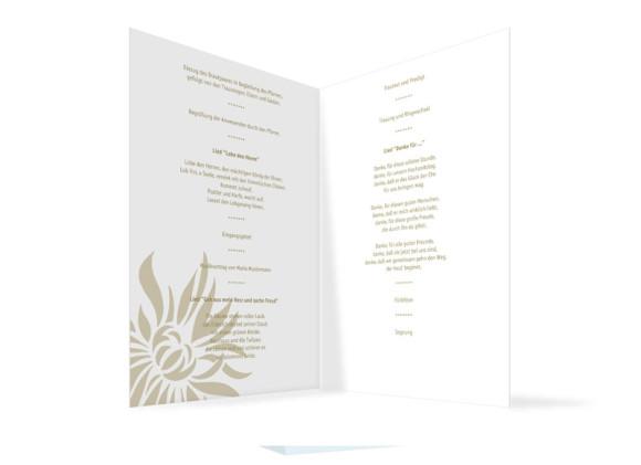 Innenansicht, Klappkarte zur Hochzeit (Kirchenheft), Motiv Florenz, Farbversion: beige
