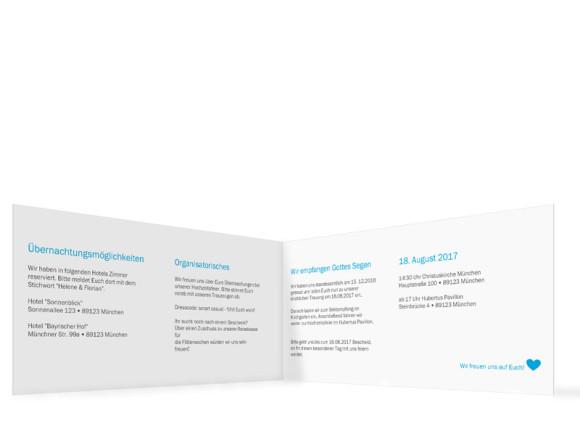 Einladung zur Hochzeit, Motiv München City Klappkarte, Innenansicht, Farbversion:
