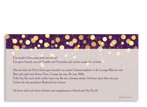 Einladungskarten Schillernd, Rückseite der Farbversion: brombeer