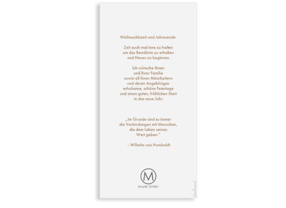Postkarte DL hoch, Motiv: Winterlandschaft FW, Rückseite, Farbvariante: beige