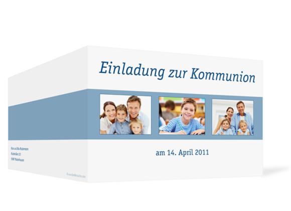 Aussenansicht, Klappkarte zur Kommunion, Motiv Jette/Jannik, Farbversion: blau