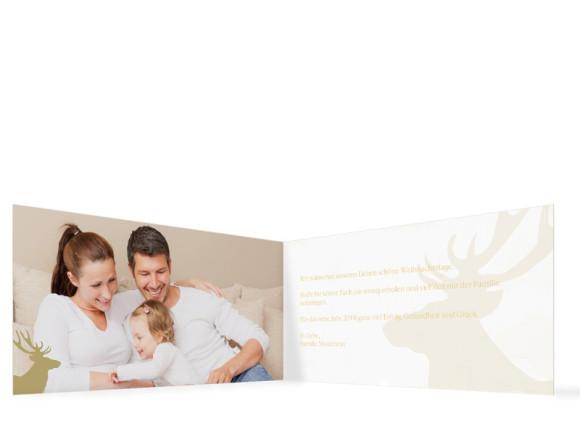 Weihnachtskarte HolyMoose (Klappkarte, DL), Innenansicht in der Farbvariante: weiß
