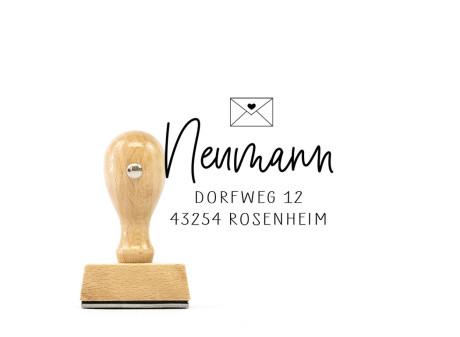 """Adress-Stempel """"Rosenheim"""" (quadratischer Holzstempel), ca. 45 x 45 mm"""