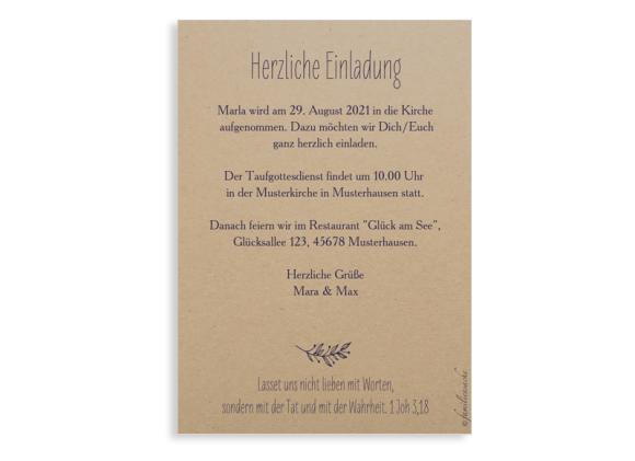 Taufkarten (Einladung), Postkarte A6, Motiv: Nature, Rückseite, Farbvariante: aubergine