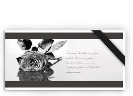 Trauerkarte Rose (Postkarte) Grau
