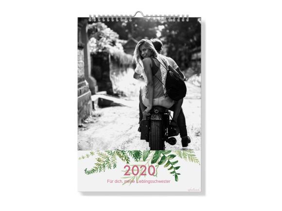 Wandkalender A4 - Spiralbindung, Motiv: Greenery, Innenansicht, Farbvariante: altrosa