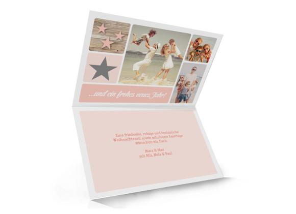 Weihnachtsgrußkarte (Klappkarte, A6), Innenansicht, Motiv: Lucia, Farbversion: apricot