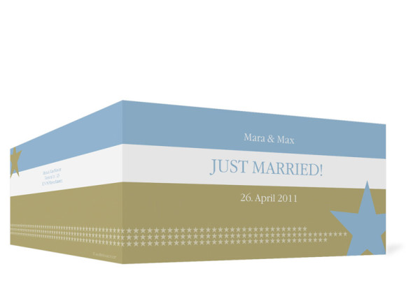 Aussenansicht, Danksagungs-Klappkarte zur Hochzeit (Format DIN Lang), Motiv New York, Farbversion: blau-oliv